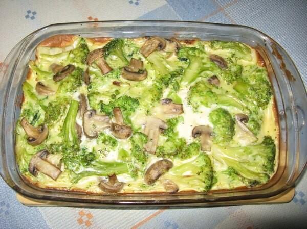 Zapečená brokolice s houbami na jednom pekáči s vynikající chutí recept