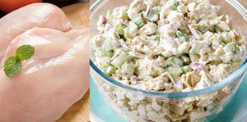 Rychlý a sytý salát z kuřecích prsou se speciální domácí majonézou snadný recept