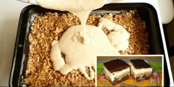 Obrácený jablkáč se zakysanou smetanou a čokoládou originální recept