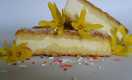 Sypaný tvarohový koláč