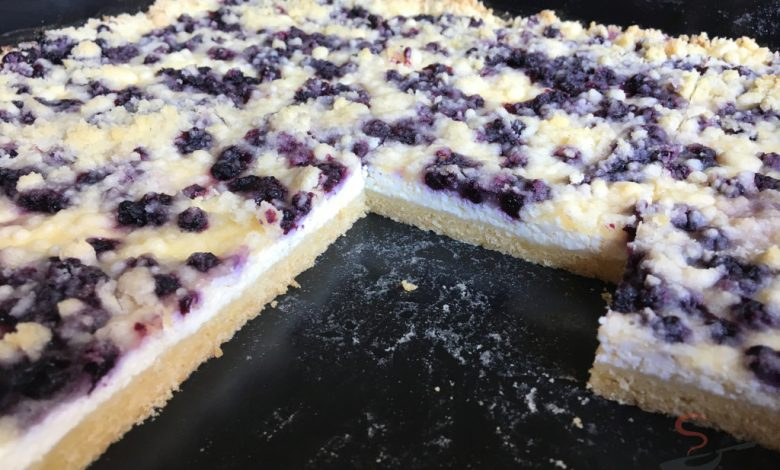 Jednoduchý tvarohovo borůvkový koláč s drobenkou