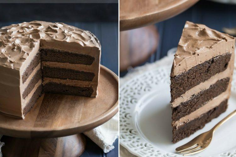 Trojitě čokoládový dort s jemným krémem a sirupem