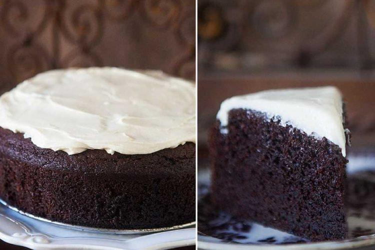 Hutný čokoládově-pivní dort s krémovou polevou