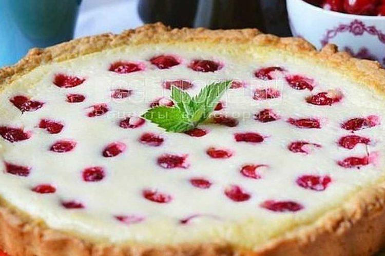 Krémový tvarohový koláč s třešněmi