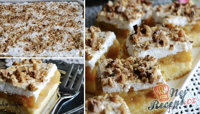 Jablečné řezy s pěnou a ořechy