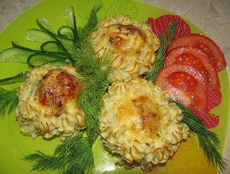 Zemiakové hniezda so syrom a šampiňónmi