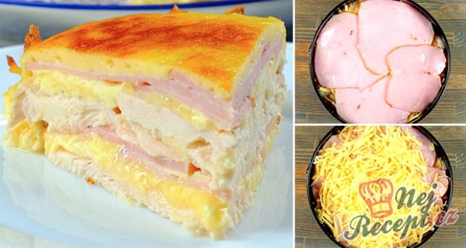 Slaný kuřecí dort se šunkou a sýrem