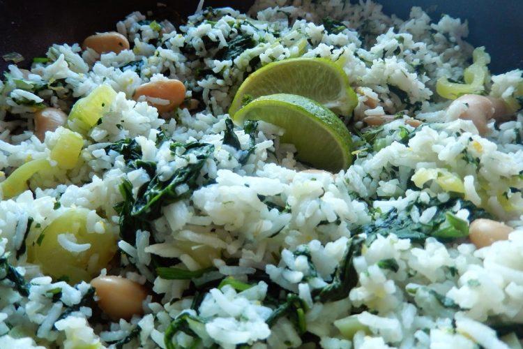 Citronová rýže se špenátem a koriandrem
