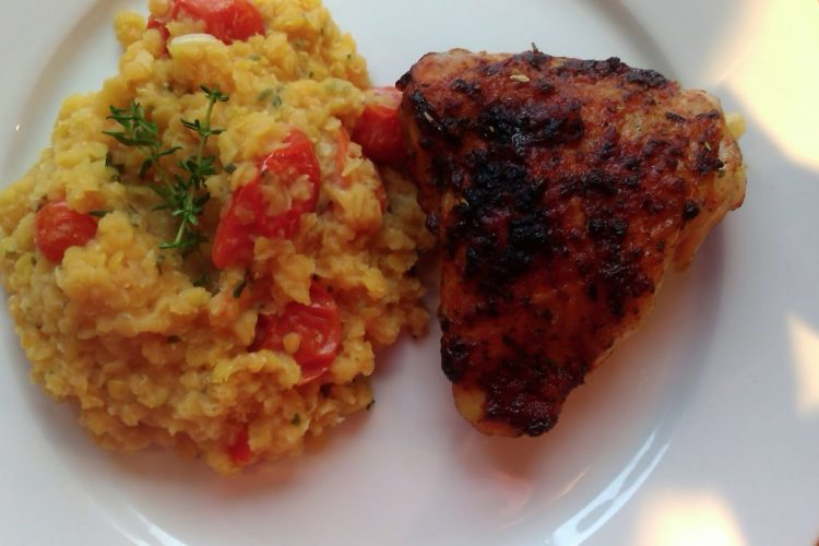 Červená čočka s kuřetem