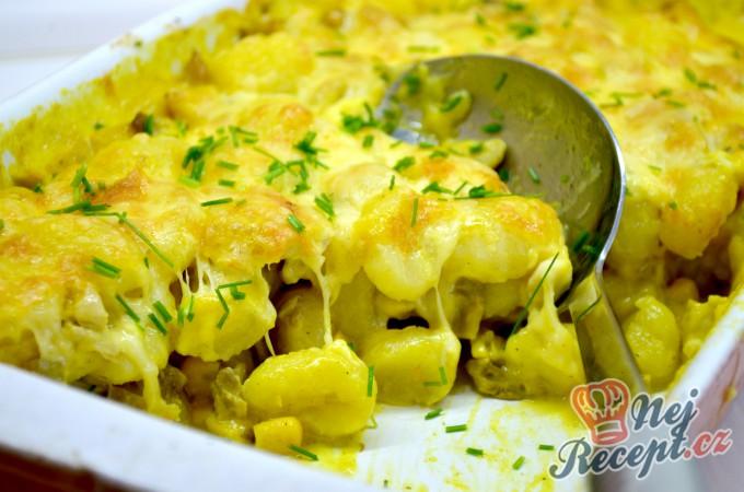 Zapečené těstoviny (gnocchi) s kuřecím masem a hlívou ústřičnou