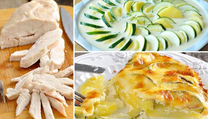 Šťavnatá kuřecí prsa a zapečená cuketa s bramborami