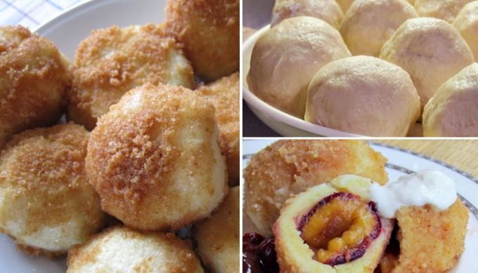 Speciální bramborové knedlíky se švestkami, tvarohem a skořicí