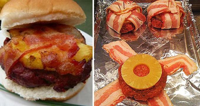 Hawai burger se slaninou