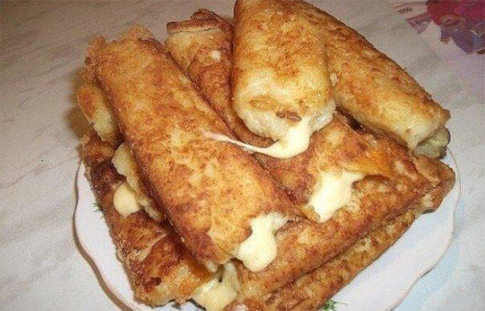 Bramborové tyčinky plněné sýrem