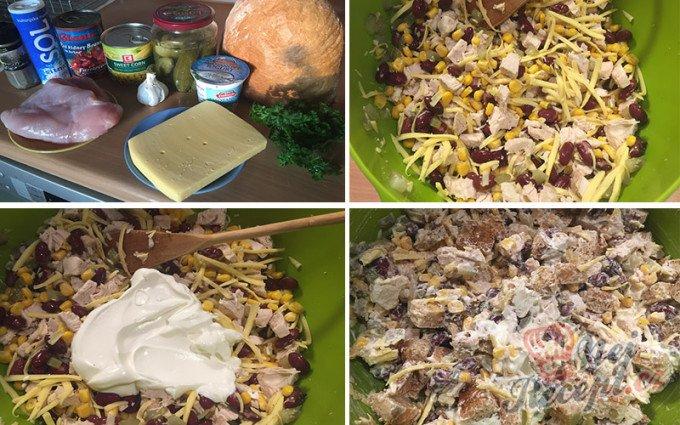 Lehký salát s kuřecím masem, fazolemi a sýrem