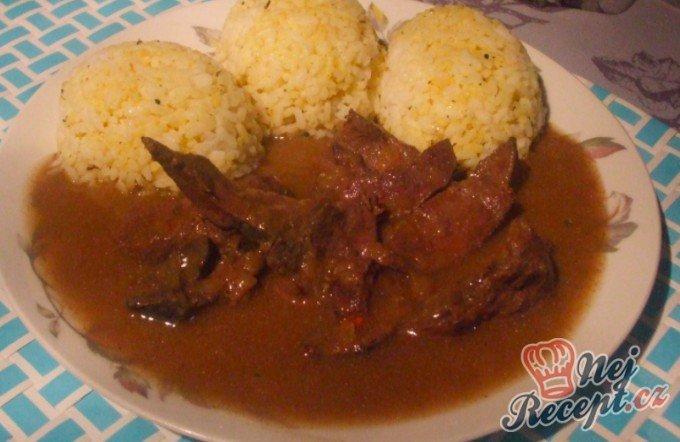 Dušená vepřová játra s rýží