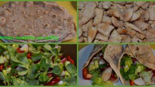 Domácí tortila s kuřecím masíčkem a zeleninou