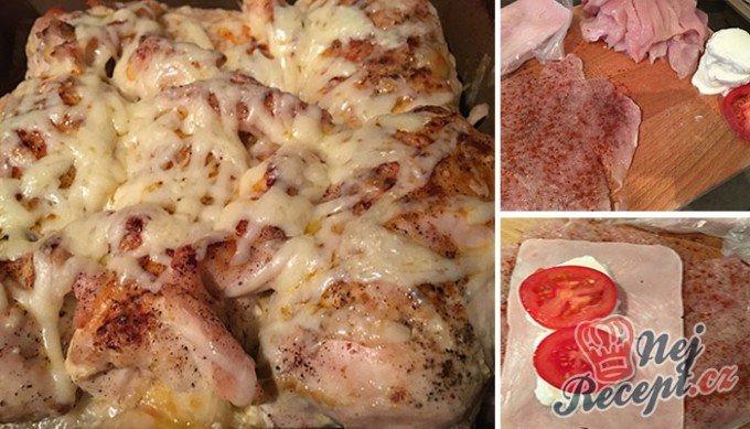 Kuřecí rolky se šunkou, mozzarellou a rajčetem
