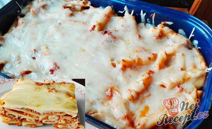 Zapečené těstoviny v rajčatové omáčce s houbami a sýrem