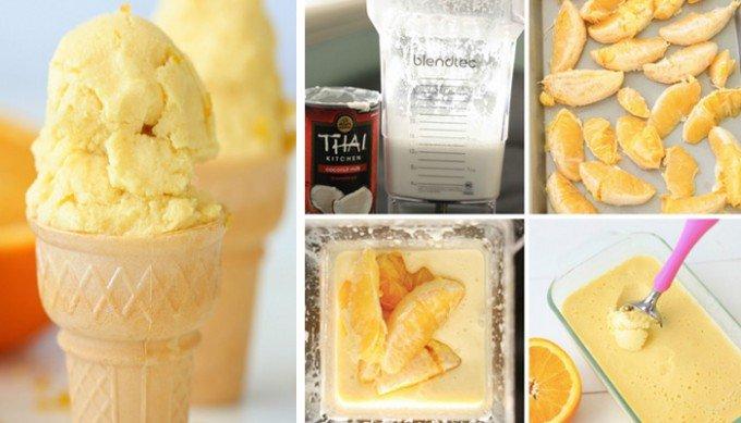 Pomerančová zmrzlina připravena ze dvou surovin