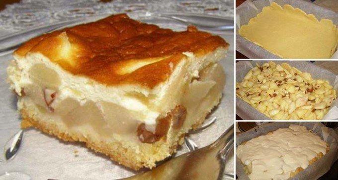 Jablečný koláč přelitý smetanovou omáčkou